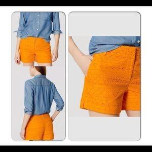 Ann Taylor LOFT Riviera Shorts Eyelet Tangerine 12